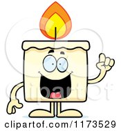 Cartoon Of A Smart Candle Mascot With An Idea Royalty Free Vector Clipart
