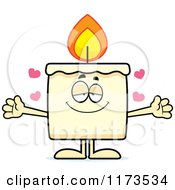 Cartoon Of A Loving Candle Mascot Wanting A Hug Royalty Free Vector Clipart