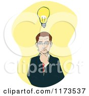 Businessman Thinking With A Lightbulb On Yellow