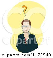 Businessman Thinking With A Question Mark On Yellow