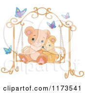 Cartoon Of A Cute Teddy Bears Cuddling On A Bench Swing Royalty Free Vector Clipart