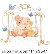 Cute Teddy Bears Cuddling On A Bench Swing