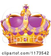 Cartoon Of A Gold And Purple Crown With Amethyst Gems Royalty Free Vector Clipart by Pushkin