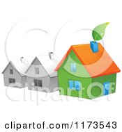 Cartoon Of A Green House With A Leaf By Gray Houses Royalty Free Vector Clipart by Pushkin