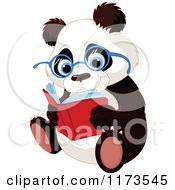 Cartoon Of A Cute Panda Wearing Glasses And Reading Royalty Free Vector Clipart by Pushkin