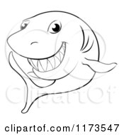 Cartoon Of A Black And White Grinning Shark Outline Royalty Free Vector Clipart