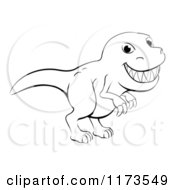 Cartoon Of A Black And White Grinning T Rex Outline Royalty Free Vector Clipart