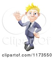 Friendly Blond Businessman In A Blue Suit Leaning And Waving