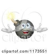 Cartoon Of A Welcoming Happy Bomb Mascot Royalty Free Vector Clipart