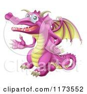 Cartoon Of A Waving Pink Dragon Royalty Free Vector Clipart