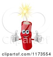 Cartoon Of A Happy Lit Dynamite Mascot Holding Two Thumbs Up Royalty Free Vector Clipart
