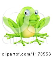 Cartoon Of A Happy Green Frog Smiling Royalty Free Vector Clipart