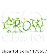 Clipart Of Green Plants Forming The Word GROW Royalty Free Vector Illustration