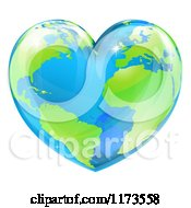 Cartoon Of A Vibrant Shiny Green And Blue Heart Shaped Earth Royalty Free Vector Clipart
