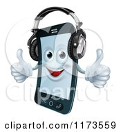 Cartoon Of A Happy Cell Phone Mascot Wearing Headphones And Holding Two Thumbs Up Royalty Free Vector Clipart