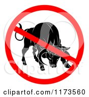 Clipart Of A No Bull Prohibited Symbol Over A Cow Royalty Free Vector Illustration