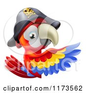 Cartoon Of A Pirate Macaw Parrot Presenting A Sign Royalty Free Vector Clipart by AtStockIllustration
