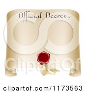 Clipart Of A Paper Official Decree Scroll With A Red Wax Seal And Copyspace Royalty Free Vector Illustration