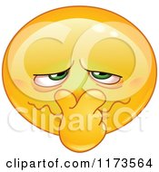 Cartoon Of A Yellow Smiley Emoticon Plugging His Nose From A Bad Smell Royalty Free Vector Clipart