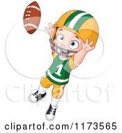 Cartoon Of A Boy Jumping To Catch A Football Royalty Free Vector Clipart by yayayoyo