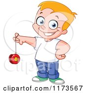 Cartoon Of A Proud Blond Boy Playing With A Yo Yo Royalty Free Vector Clipart