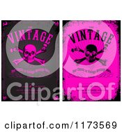 Grungy Black And Pink Skull And Crossbones Designs With Sample Text