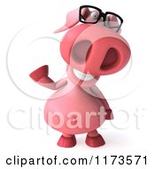 Clipart Of A 3d Pookie Pig Wearing Glasses And Waving Royalty Free CGI Illustration