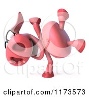 Clipart Of A 3d Pookie Pig Wearing Glasses And Doing A Cartwheel Royalty Free CGI Illustration
