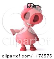 Clipart Of A 3d Pookie Pig Wearing Glasses And Pointing Royalty Free CGI Illustration