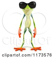 Clipart Of A 3d Argie Frog Wearing Sunglasses Royalty Free CGI Illustration