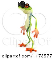 Clipart Of A 3d Argie Frog Wearing Sunglasses And Facing Left Royalty Free CGI Illustration