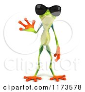 Clipart Of A 3d Argie Frog Wearing Sunglasses And Waving Royalty Free CGI Illustration