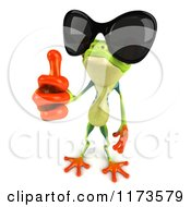 Clipart Of A 3d Argie Frog Wearing Sunglasses And Holding A Thumb Up Royalty Free CGI Illustration