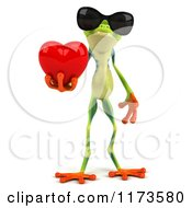 Clipart Of A 3d Argie Frog Wearing Sunglasses And Holding A Red Heart Royalty Free CGI Illustration