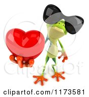 Clipart Of A 3d Argie Frog Wearing Sunglasses And Holding A Red Heart 2 Royalty Free CGI Illustration