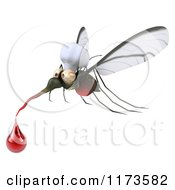 Clipart Of A 3d Mosquito Chef With A Blood Drop Royalty Free CGI Illustration