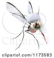 Clipart Of A 3d Mosquito Chef Looking Around A Sign Royalty Free CGI Illustration