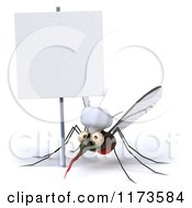 Clipart Of A 3d Mosquito Chef Under A Sign Royalty Free CGI Illustration