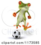 Clipart Of A 3d Springer Frog Playing Soccer Royalty Free CGI Illustration by Julos