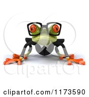 Clipart Of A Business Frog Wearing Glasses Royalty Free CGI Illustration