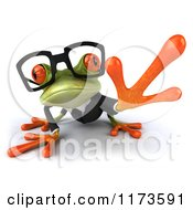 Clipart Of A Business Frog Wearing Glasses And Reaching Out Royalty Free CGI Illustration