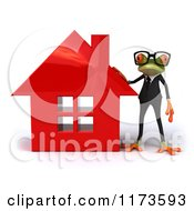 Clipart Of A Business Frog Wearing Glasses And Standing By A Red House Royalty Free CGI Illustration