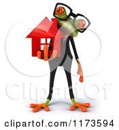Clipart Of A Business Frog Wearing Glasses And Holding A Red House Royalty Free CGI Illustration