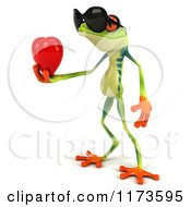 Clipart Of A 3d Argie Frog Wearing Sunglasses And Holding A Red Heart 3 Royalty Free CGI Illustration