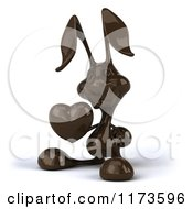 Clipart Of A 3d Dark Chocolate Easter Bunny Holding A Heart 3 Royalty Free CGI Illustration by Julos