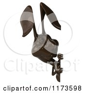 Clipart Of A 3d Dark Chocolate Easter Bunny By A Sign 2 Royalty Free CGI Illustration by Julos