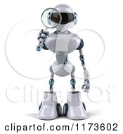Clipart Of A 3d Techno Robot Using A Magnifying Glass 3 Royalty Free CGI Illustration