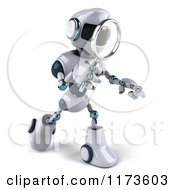 Clipart Of A 3d Techno Robot Using A Magnifying Glass 4 Royalty Free CGI Illustration
