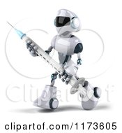 Clipart Of A 3d Techno Robot Carrying A Syringe 2 Royalty Free CGI Illustration