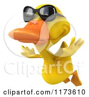 Clipart Of A 3d Yellow Duck Wearing Sunglasses And Flying 2 Royalty Free CGI Illustration